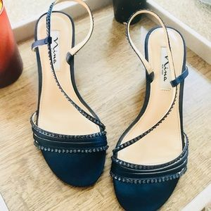 {Nina New York} navy sequin/strappy kitten heel